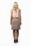 Abigail Sand Skirt - A-line, knee length, wrap suede skirt with adjustable waist