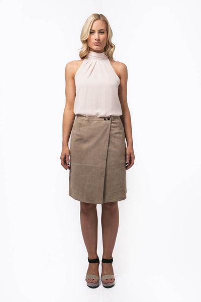 Abigail Sand Skirt - A-line, wrap, knee length suede skirt with adjustable waist