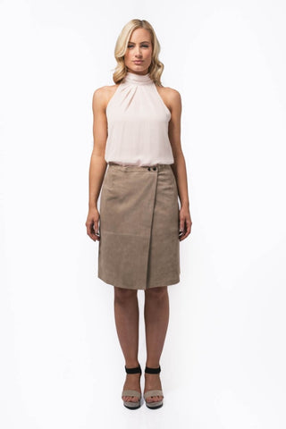 Wrap Suede Skirt in Sand - freeatheart
