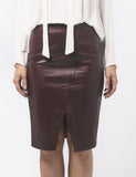 Fitted Leather Skirt with Front Split in Plum - freeatheart