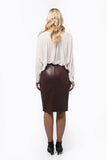 Fitted Leather Skirt with Front Split in Black - freeatheart