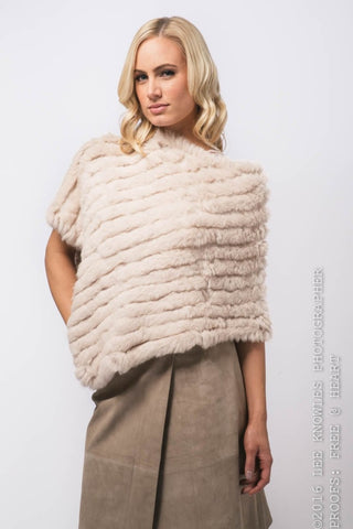 Rabbit Fur Poncho in Champaigne - freeatheart