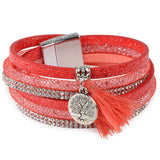 Rhinestone Feather Wide Multilayer Leather Bracelet Magnetic Tassel Bracelet Women Wrap Charm Boho Bohemian Bracelets Bangle Men