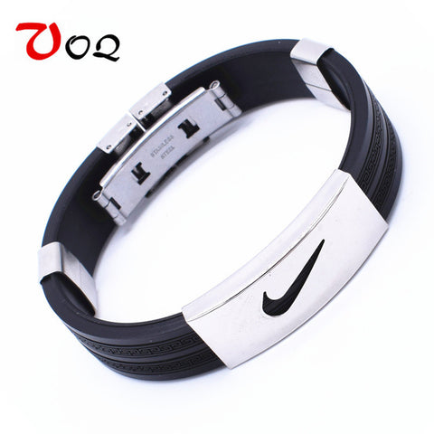 2016 Men Basketball Sports Silicone Wristband Stainless Steel Bracelets for Men Women Friendship Jewelry Gifts Free Shipping