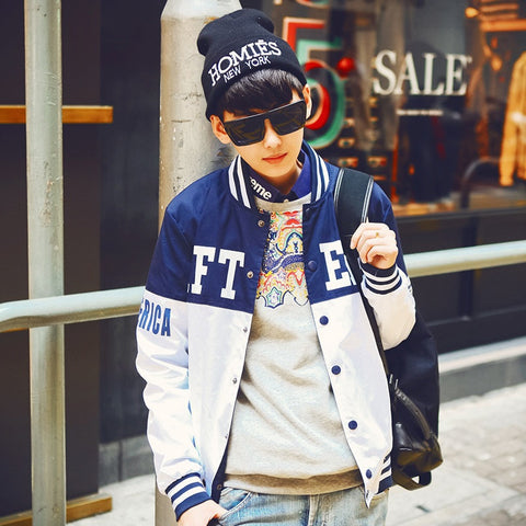 2015 Personalized Men Baseball Stitching Jacket Clothes New Men Jacket White/Black Men Outwear Casual Slim Patchwork Jacket Coat