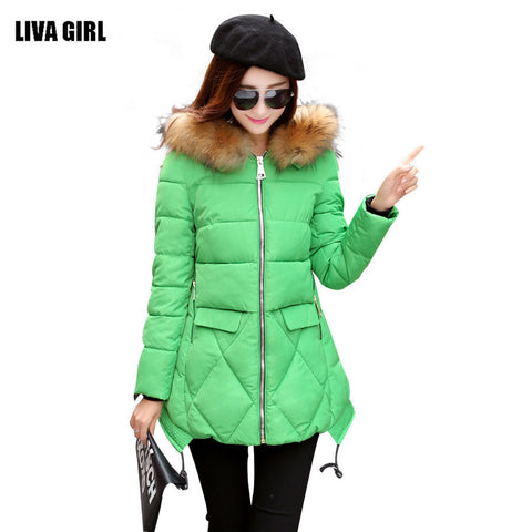 2016 New Winter Coat Fashion Thick Warm Medium-long Down Cotton Parkas Wadded Jacket Women Female Padded Overcoat Hooded Outwear