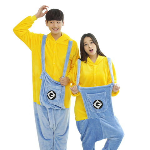 2016 New style Unisex Flannel Cartoon Animal a Piece Siamese  Pajamas Small Yellow People Home Furnishing Adult Clothing