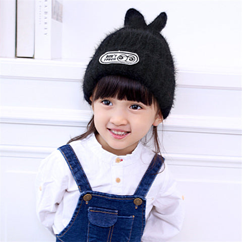 2016 New Creative Design Small Rabbit Children's Wool Cap Winter Fashion Warm Knit Hat for Girl Gift