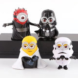 4pcs/set 8cm cute Minion Cos star wars  Maul Darth Vader Stormtrooper Luke Skywalker PVC Action Figures Toys