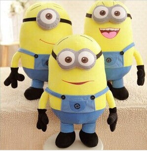 Despicable me minion plush toy 25 cm 3 pcs/set  3D eyes Minions yellow doll toy