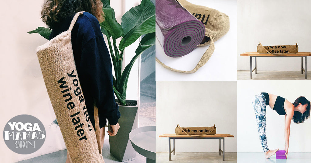 Buy Your Personal Burlap Yoga Mat Bag from Yoga Mamas Saigon