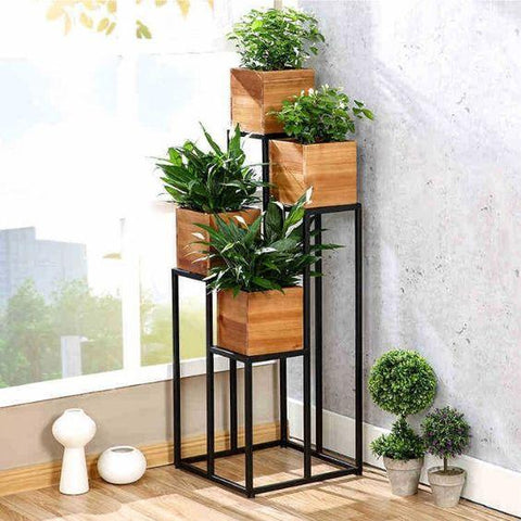 Tall Iron Plant Holder with 4 Pots