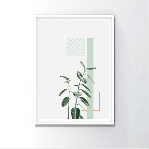 Watercolor Fiddle Leaf Figs Minimal Frame