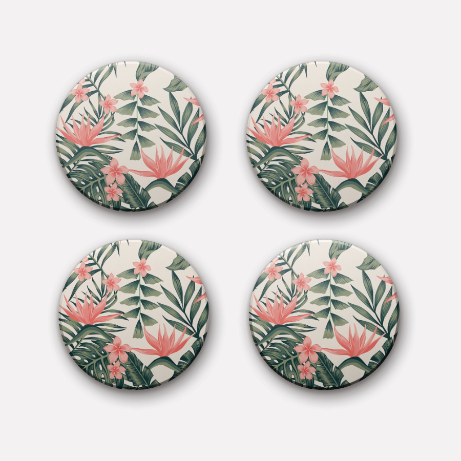 Set of 4 round - California Ceramic Coaster