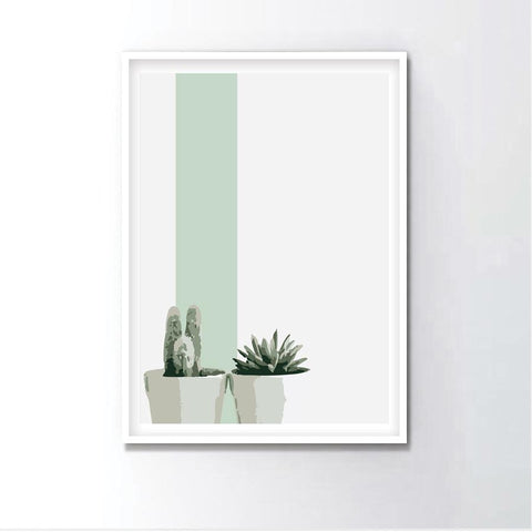 Watercolor Mini Cactus Frame