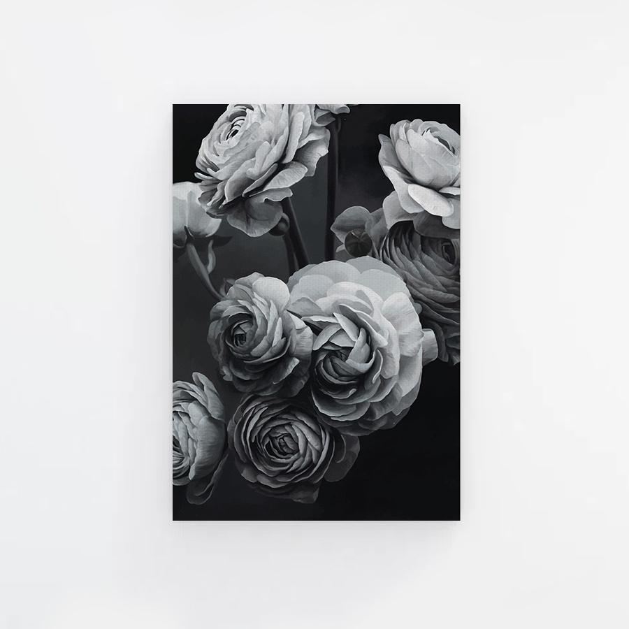 BW Illustrator Peonies Canvas