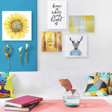 Set of multiple canvas prints - Yellow abstract