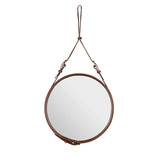 Luna Leather Round Mirror with Leather Strap