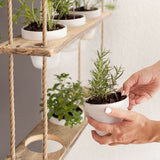 Wooden vertical plant hanger with 9 pots