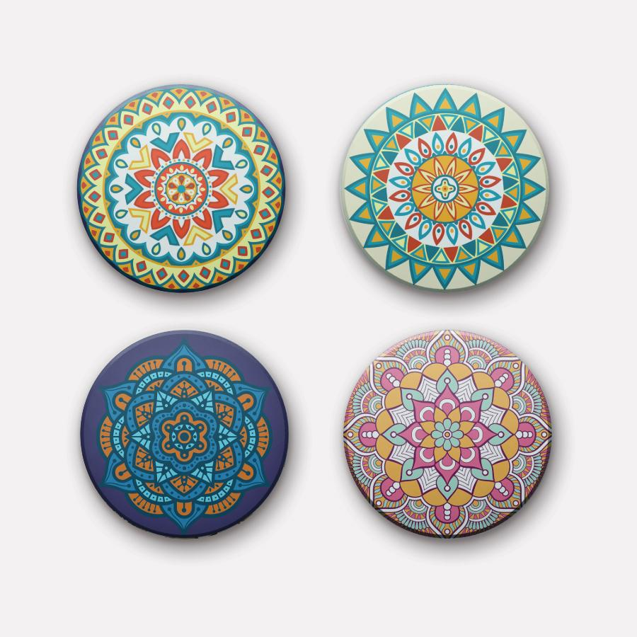 Set of 4 round - Mandala Ceramic Coaster