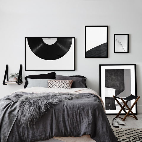 Set of multiple art prints - B&W Phonograph Disc