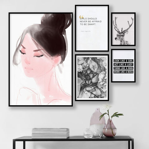 Set of multiple art prints - Girl