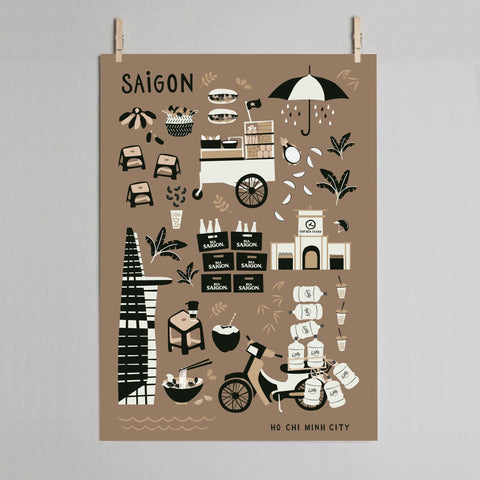 THE SAIGON Poster in Brown
