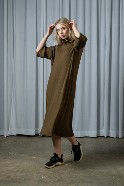 Knit Polo Dress - Olive/Black/Copper