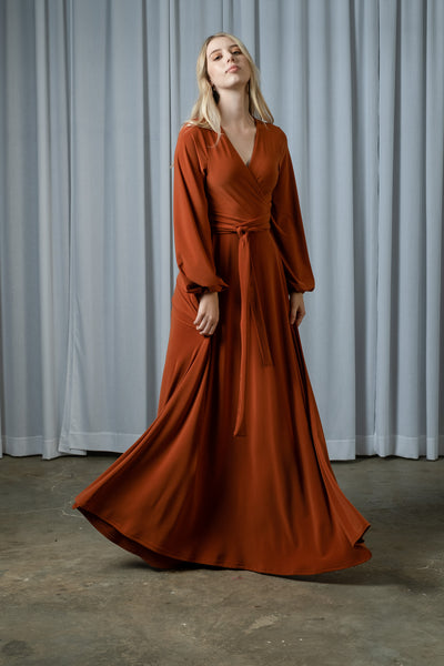 Maxi Wrap Dress - Black/Rust/Ocean Foam