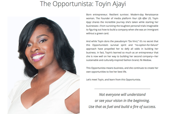 Check out this interview creator of Ife Medow, Toyin Ajayi, did with The Opportunista!