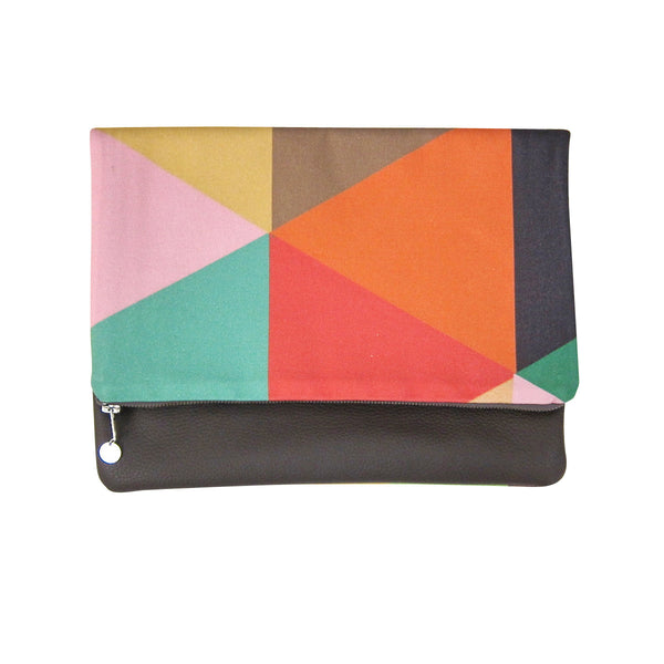 CLUTCH WITH LEATHER BACK - KALEIDOSCOPE (REVERSIBLE)