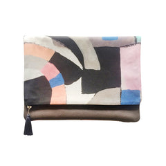CLUTCH WITH LEATHER BACK - PAINT BLOCK (REVERSIBLE)