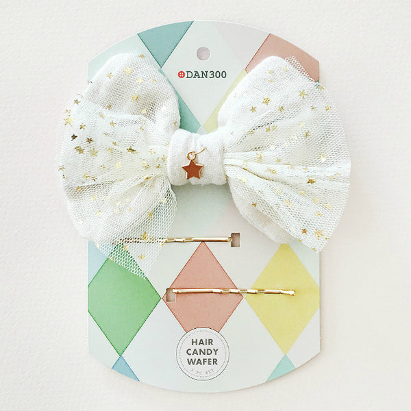Hair Candy WAFER : 3 PC - TULLE STARS (Cream)