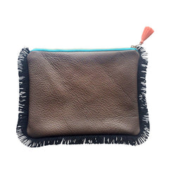 ZIP PURSE WITH LEATHER BACK & FRINGING - GEO C (REVERSIBLE)