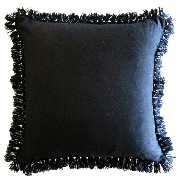 BLACK & BLUSH FRINGED CUSHION (with insert) 65 x 65cm