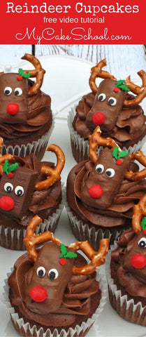 rudolf-christmas-cupcakes-with-red-pearl-sprinkles-holly-berry-sprinkles