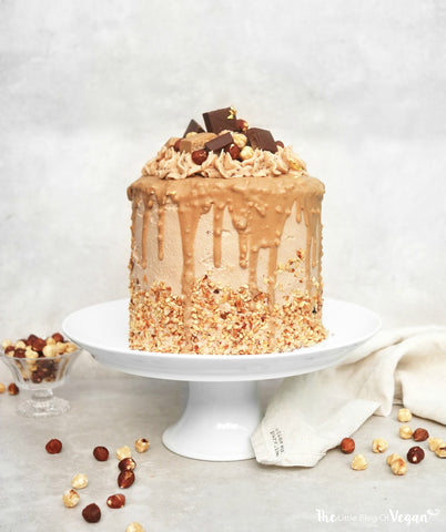 Vegan chocolate, praline and hazlenut cake