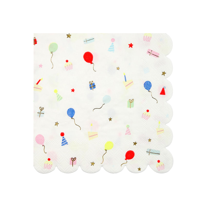 Small Party Icon Scalloped Napkins