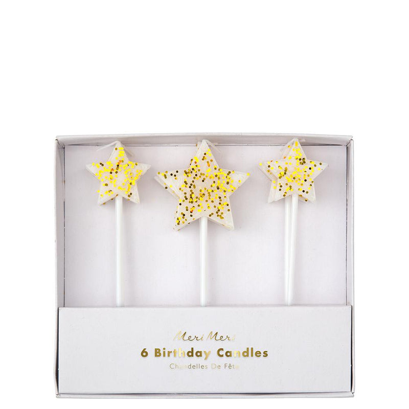 Gold Glitter Star Candles (Pack of 6)