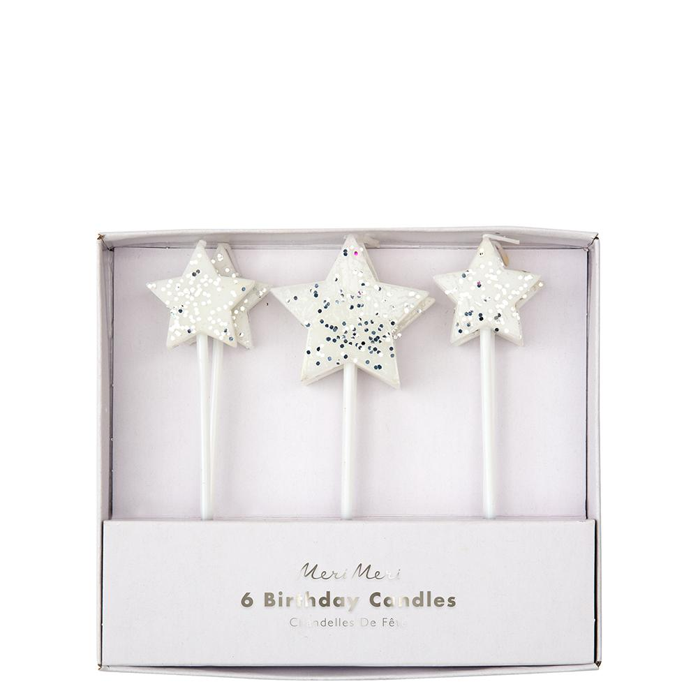 Silver Glitter Star Candles (Pack of 6)