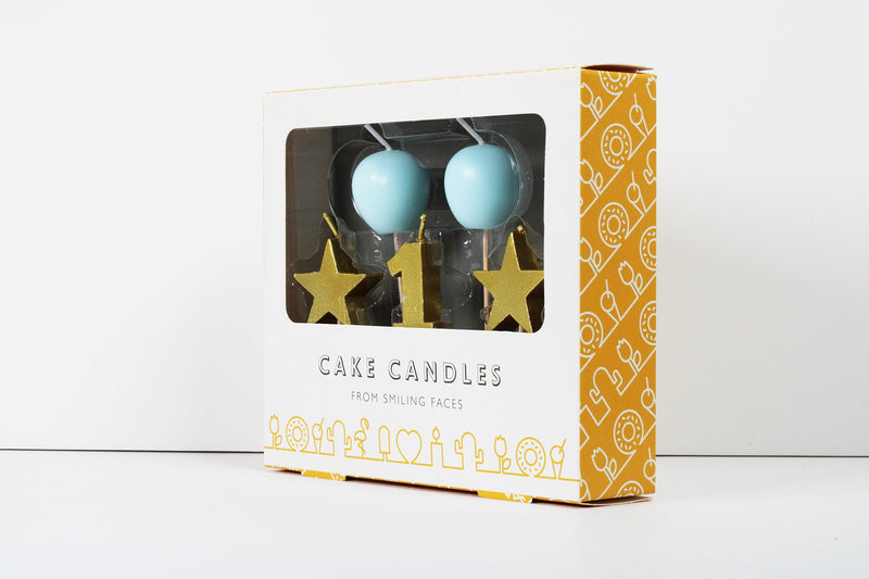 1st Birthday Blue and Gold 3D Candles Set