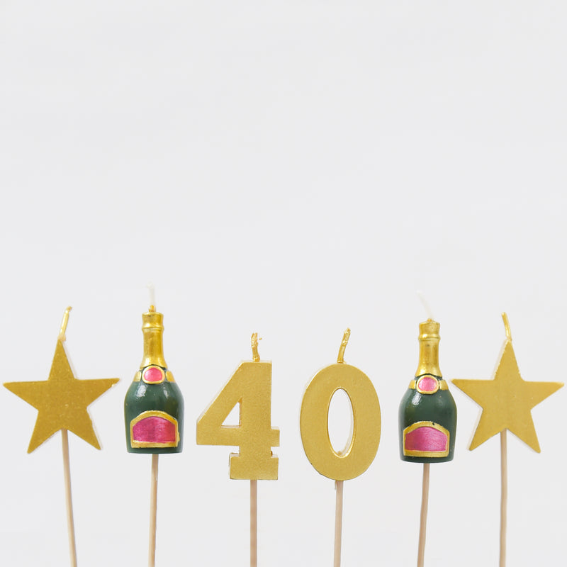 40th Milestone Birthday / Anniversary 3D Candles Set