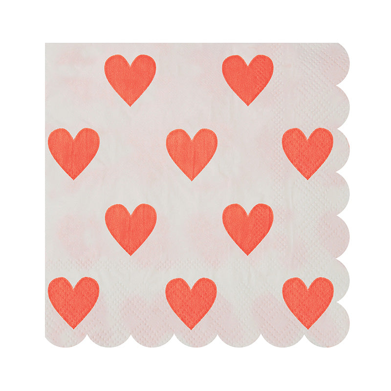 Pink Hearts Pattern Small Napkins