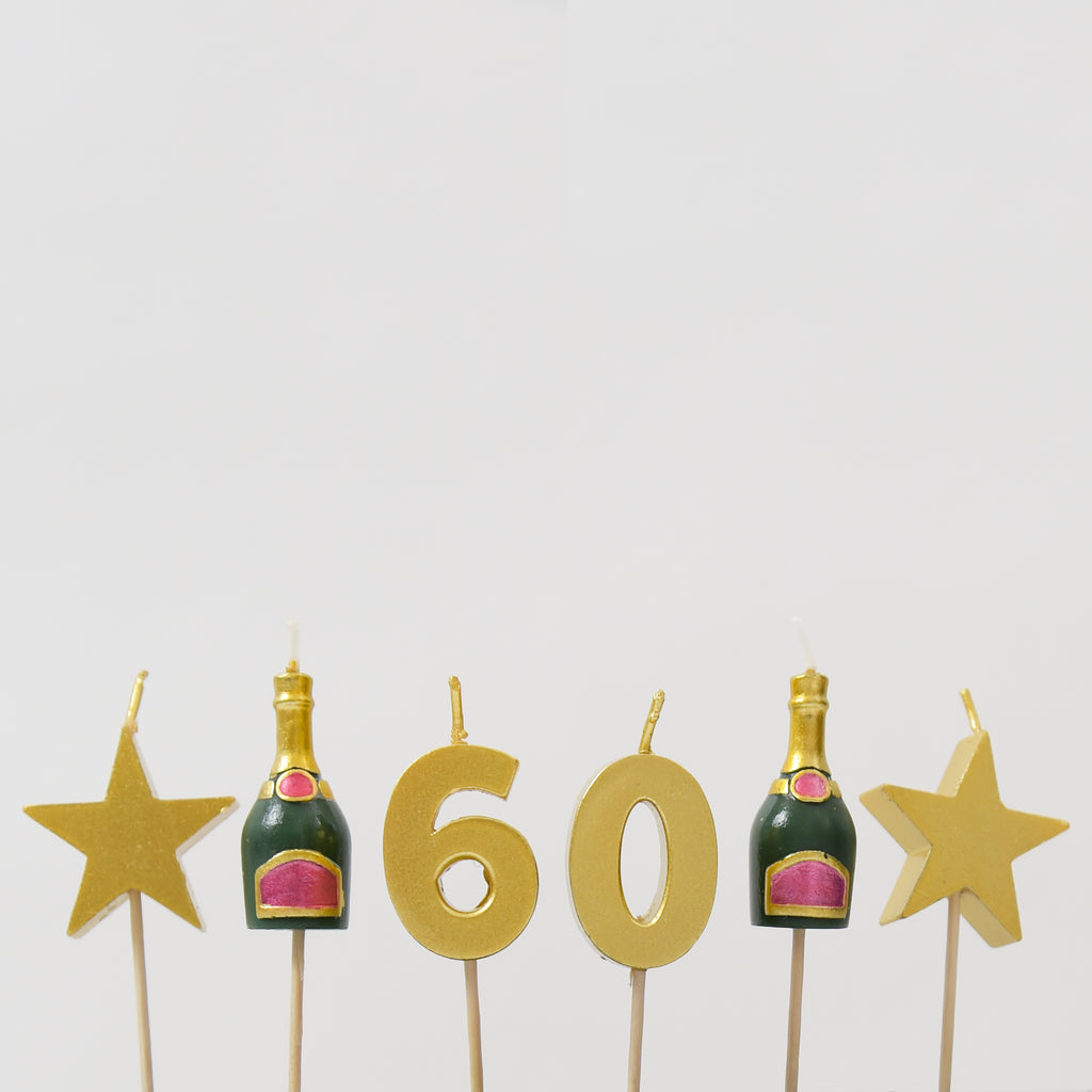 60th Milestone Birthday / Anniversary 3D Candles Set
