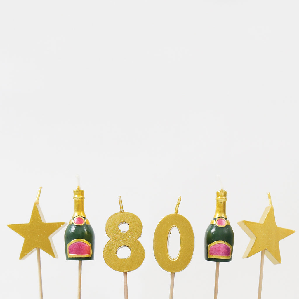 80th Milestone Birthday 3D Candles Set