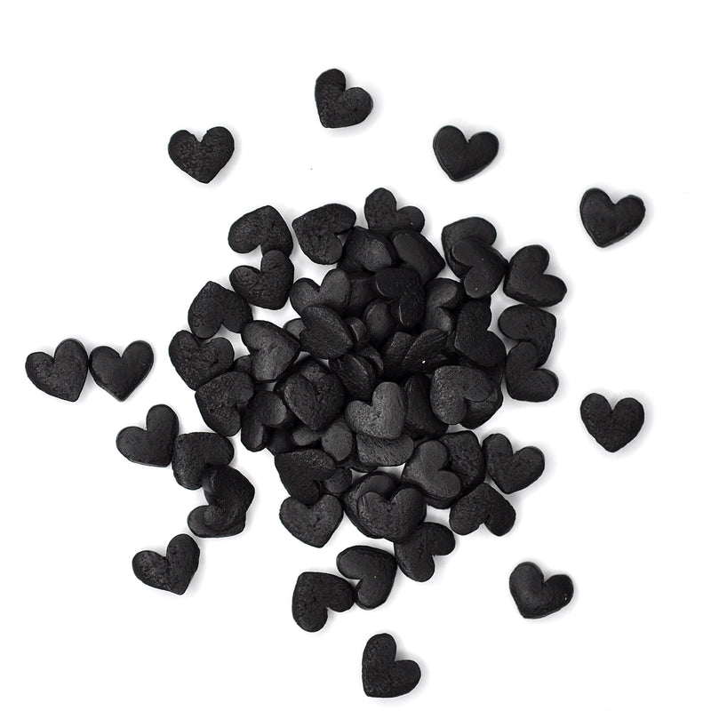 Black Confetti Hearts Sprinkles (Best Before 30 June 2022)