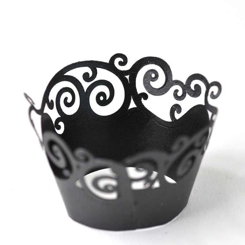 Black Swirls Cupcake Wrappers 6 Pack
