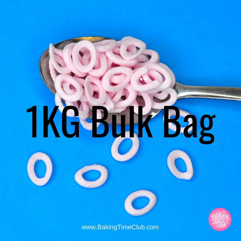 Bulk Bag - Pink Hoops Confetti Sprinkles (Best Before 03 Apr 2021)