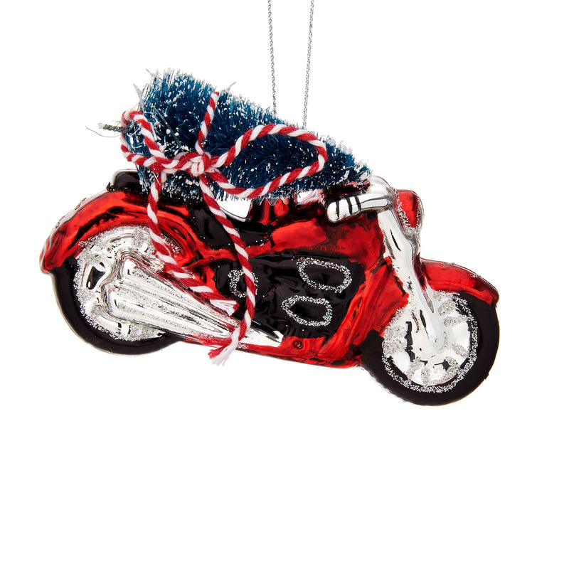 Christmas Tree on Motorcycle Shaped Bauble Hanging Decoration