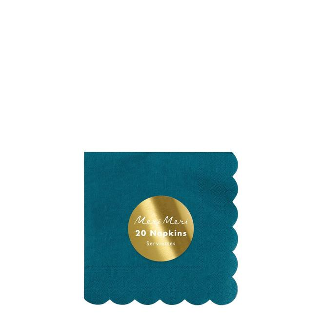 Dark Teal Small Napkins Pack of 20